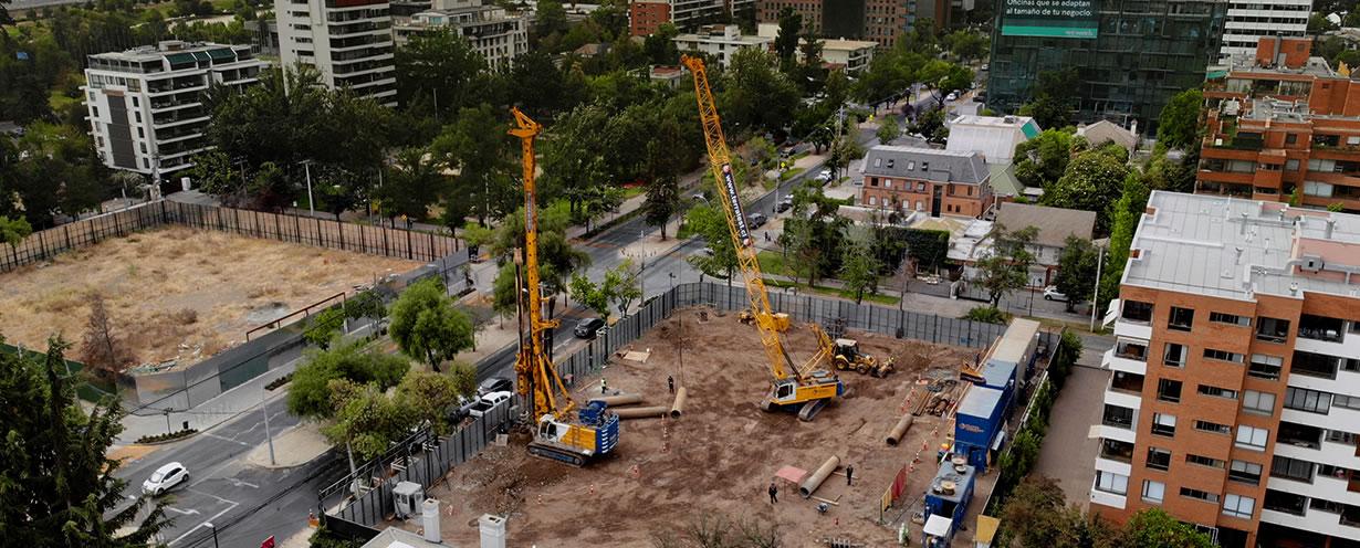 Entibación y excavación llave en mano, Edificio Rodrigo de Quiroga, Vitacura