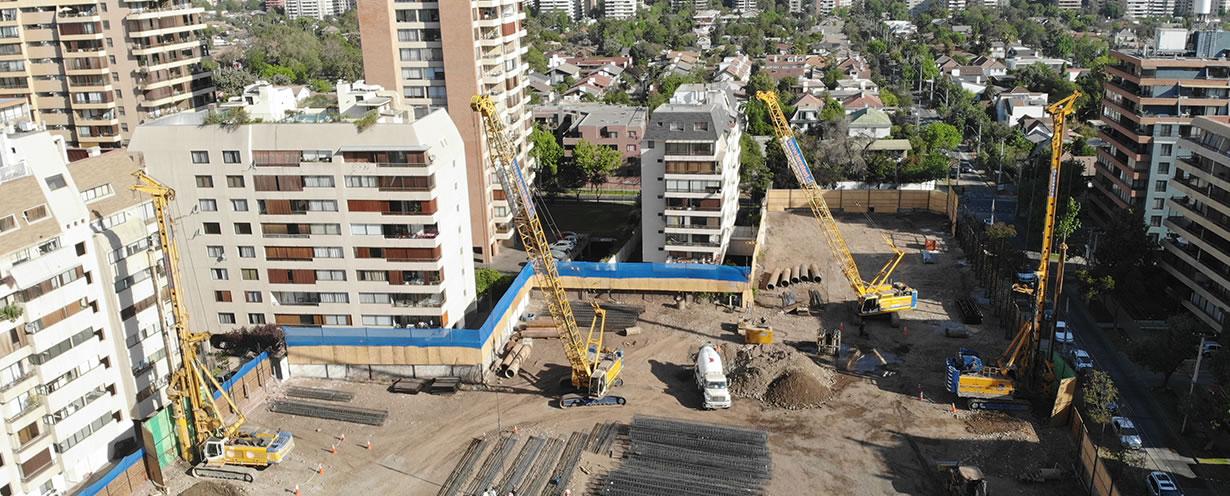 Pilotes Pre-excavados Edificio Urbana Center, Apoquindo, Santiago de Chile